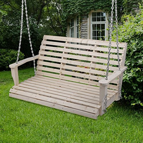 Homgrace Patio Hanging Rollback Wooden Porch Swing Chair Bench Seat Outdoor Furniture (wood color)