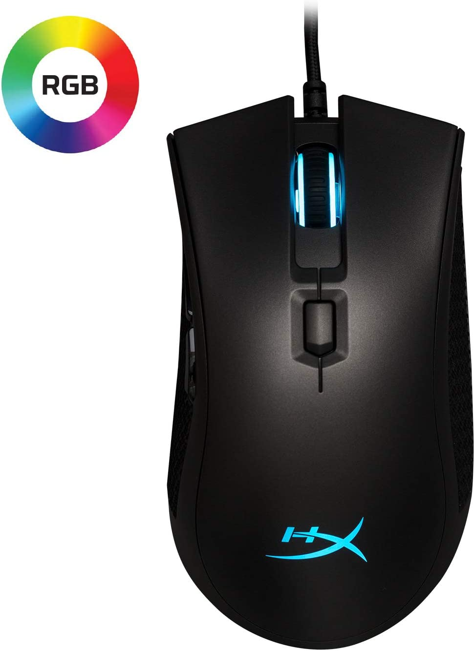 HyperX Pulsefire FPS Pro - Gaming Mouse, Software Controlled RGB Light Effects & Macro Customization, Pixart 3389 Sensor Up to 16,000 DPI, 6 Programmable Buttons, Mouse Weight 95g