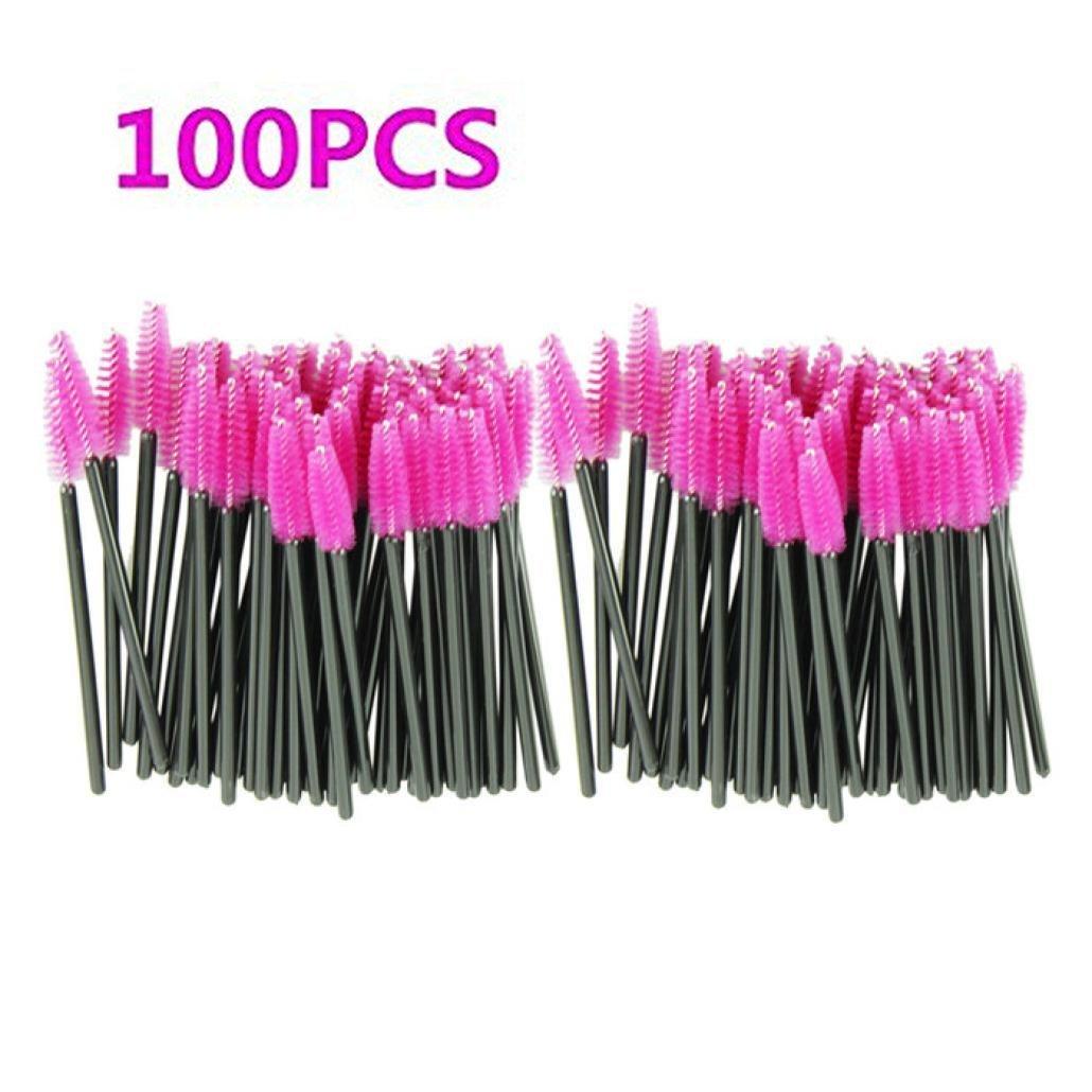 Makeup Brush 100pcs/lot make up brush Pink synthetic fiber One-Off Disposable Eyelash Brush Mascara Applicator Wand Brush Teanfa Sandistore-908
