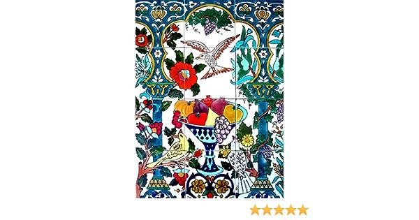 Hand Painted Mosaic Mural Kitchen Bath Patio Wall D/écor 36 Inch x 36 Inch Decorative Ceramic Tiles