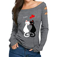 MVPKK Femme Sweatshirt Imprimées Chat Sweatshirt Pull T-Shirts à Manches Longues Tops Épaules Nues Blouse Shirt