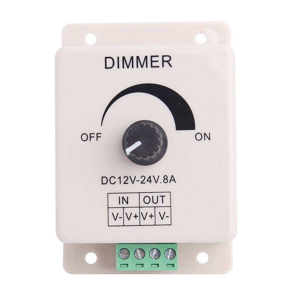 FAVOLCANO® (3 Pack) Dimming Controller For Single Color LED Lights or Ribbon, 12 Volt 8 Amp,Adjustable Brightness Light Switch Dimmer Controller DC12V 8A 96W for Led Strip Light by FAVOLCANO (Image #2)