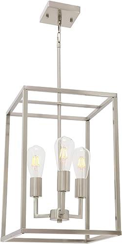 3 Light VINLUZ Classic Indoor Chandelier Brushed Nickel Finish Foyer Lantern Pendant Lighting