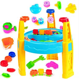 Set de juguetes de playa para niños Mesa de arena y agua Juego de juguetes de playa Juego de juguetes de construcción de castillos de mesa para niños Juego de cubos de