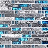 Home Building Glass Tile Kitchen Backsplash Idea Bath Shower Wall Decor Teal Blue Gray Wave Marble Interlocking Pattern Art Mosaics TSTMGT002 (1 Sample [4''x12''])