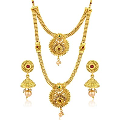 437fc8c81 Buy Sukkhi Gold Plated Jewellery Set for Women (N72489GLDPH022018) Online  at Low Prices in India | Amazon Jewellery Store - Amazon.in