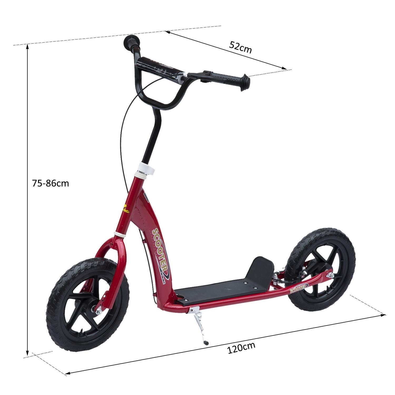 HOMCOM Patinete Scooter 2 Ruedas 12 Pulgadas Monopatín para Niños y Adultos Manillar Ajustable con Freno y Caballete Carga 100kg 120x52x75-86cm Acero