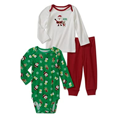 09b44bbf5ecd6 Carter's Infant Boys Santa Claus Outfit Christmas Shirt Creeper & Pants