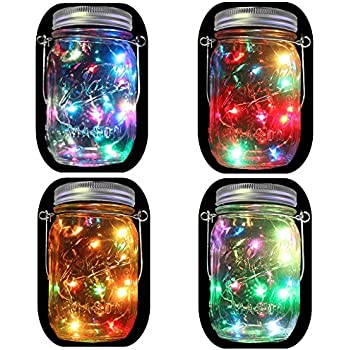 multi color outdoor solar jar design. 4-Pack Solar Powered Mason Jar Lights (Mason \u0026 Handle Included), Multi Color Outdoor Design