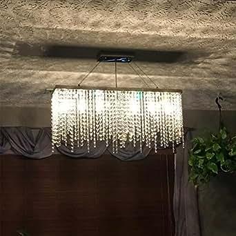 "Modern Linear Rectangular Island Dining Room Crystal Chandelier Lighting Fixture Kitchen Lighting Led Pendant Light (Medium L32"")"