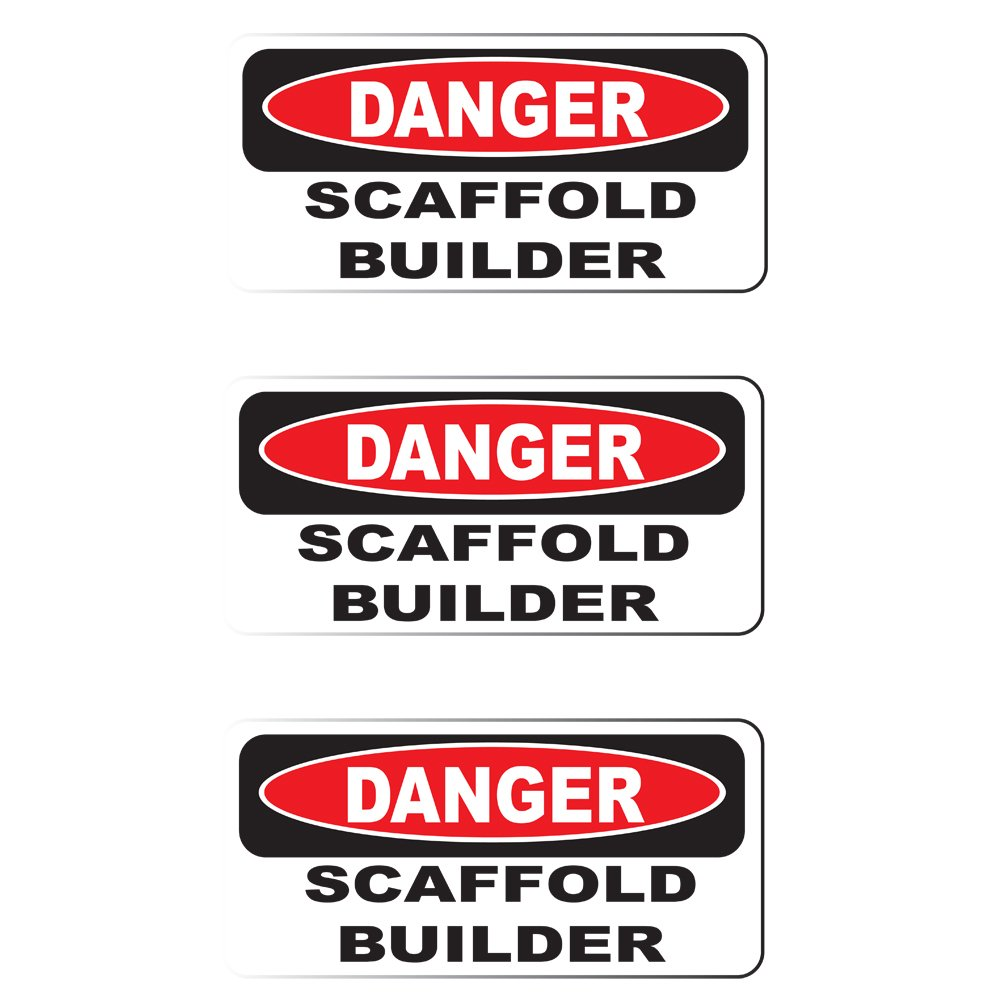 """HardHat Sticker Printed Sticker 3 Pack Danger Scaffold Builder size: 2/"""" x 1/"""""""