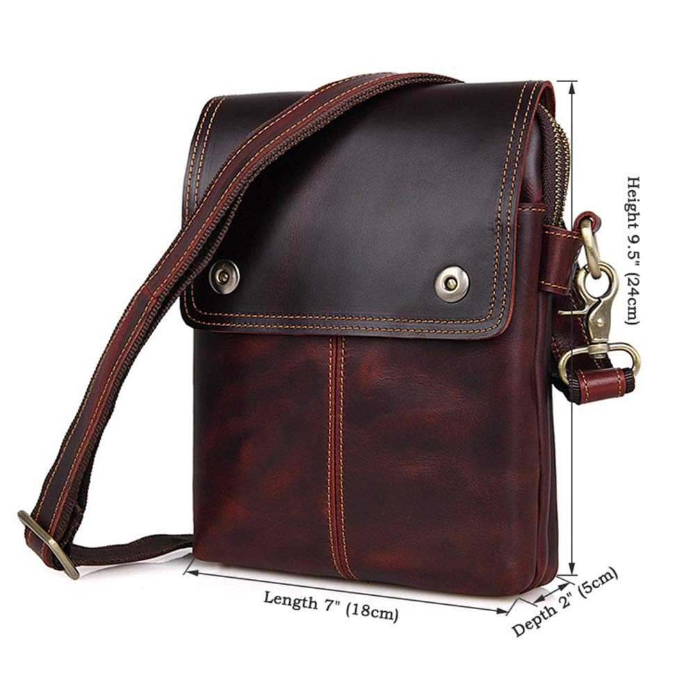 GLOOZD Mens Genuine Leather Shoulder Messenger Bag Business Casual Small Capacity Can Accommodate Mini Ipad