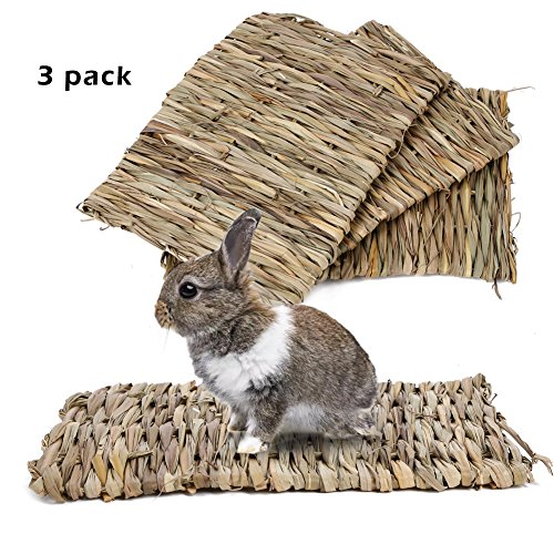Ferret Edible Toy - Natural Seagrass Mat Handmade Woven Mat, Safe & Edible for Hamsters, Rabbits, Parrot Guinea Pig and Ferret Chew Mat Toy Bed (3Pack)117.8in