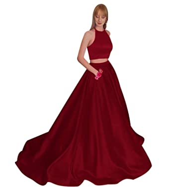 2 Pieces Halter A Line Prom Dress for Women 2019 Evening Party Ball Gown  Burgundy 08440292b