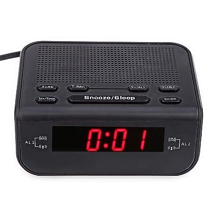 QZTG Despertador Digital Diseño De Reloj Despertador Radio FM con Despertador Dual Función De Sueño Despertador