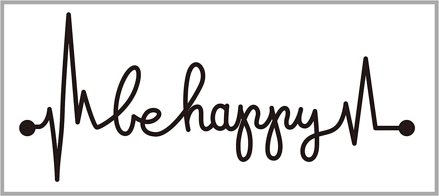 Black Be Happy Car Decal Heartbeat Lifeline Vinyl Sticker Laptop Window Inspirational Quotes Decal