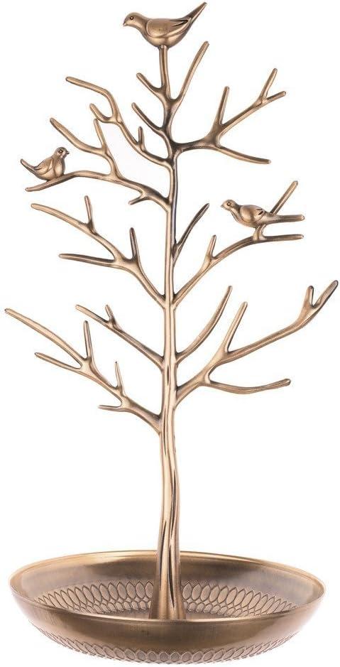 INVIKTUS Silver Birds Tree Jewelry Stand Display Earring Necklace Holder Organizer Rack Tower