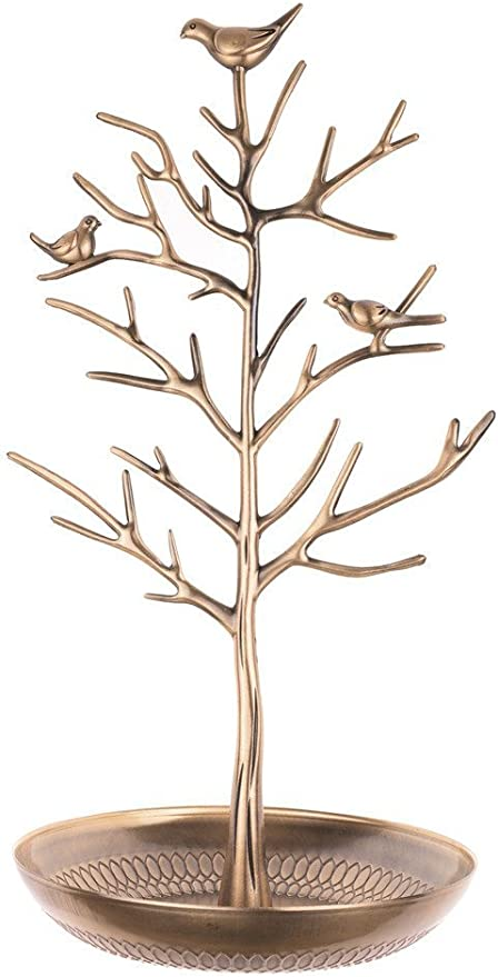 Amazon Com Inviktus Silver Birds Tree Jewelry Stand Display Earring Necklace Holder Organizer Rack Tower Home Kitchen
