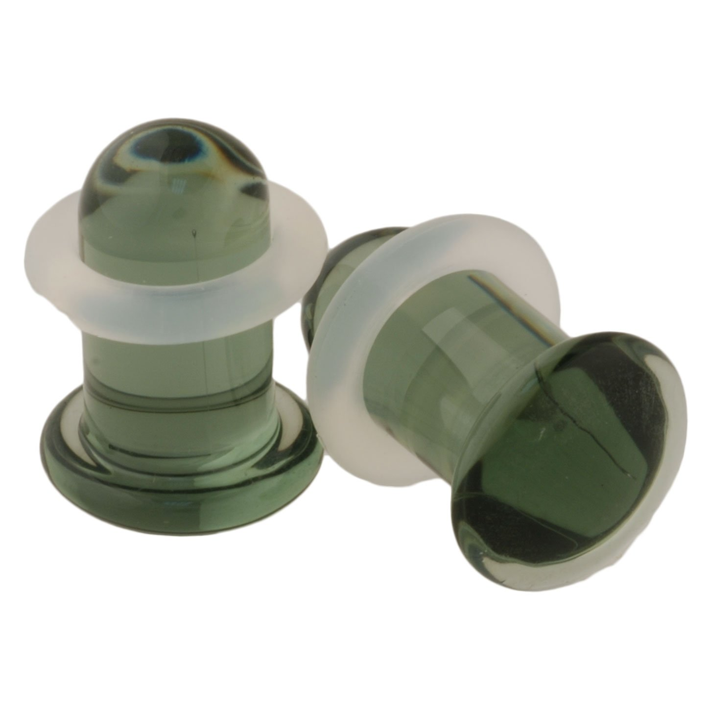 Pair of Glass Single Flared Solid Plugs: 1/2'' Smoke, Standard Length