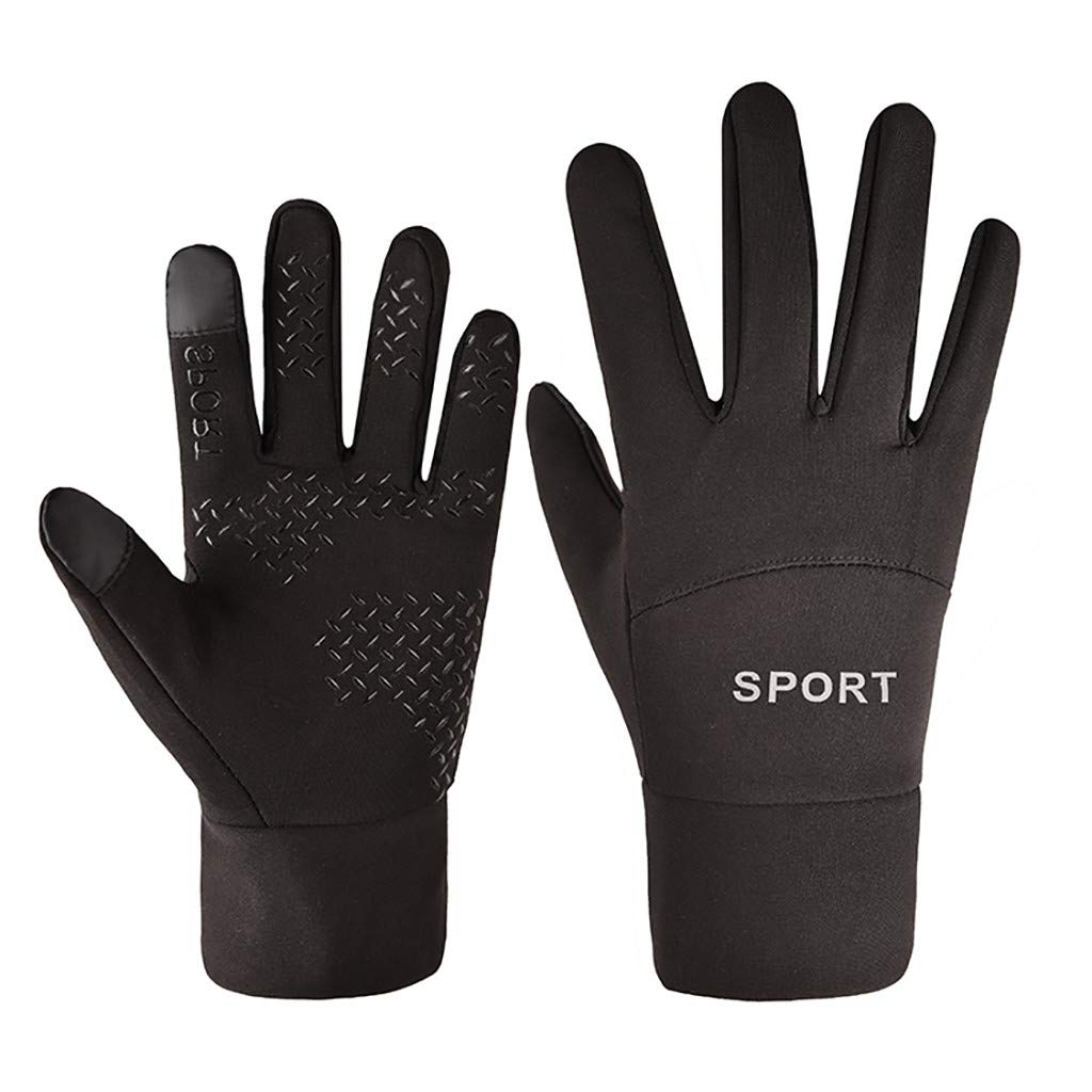 Vovotrade Winter Glove for Men Women Keep Warm Touch Screen Waterproof Windproof Cold Weather Mitten for Cycling Running (M, Black)
