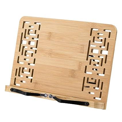 HALOViE Soporte de Libro para Lectura Atril Ajustable Plegable de Bambú Estantes Escritorio Portátil para Leer