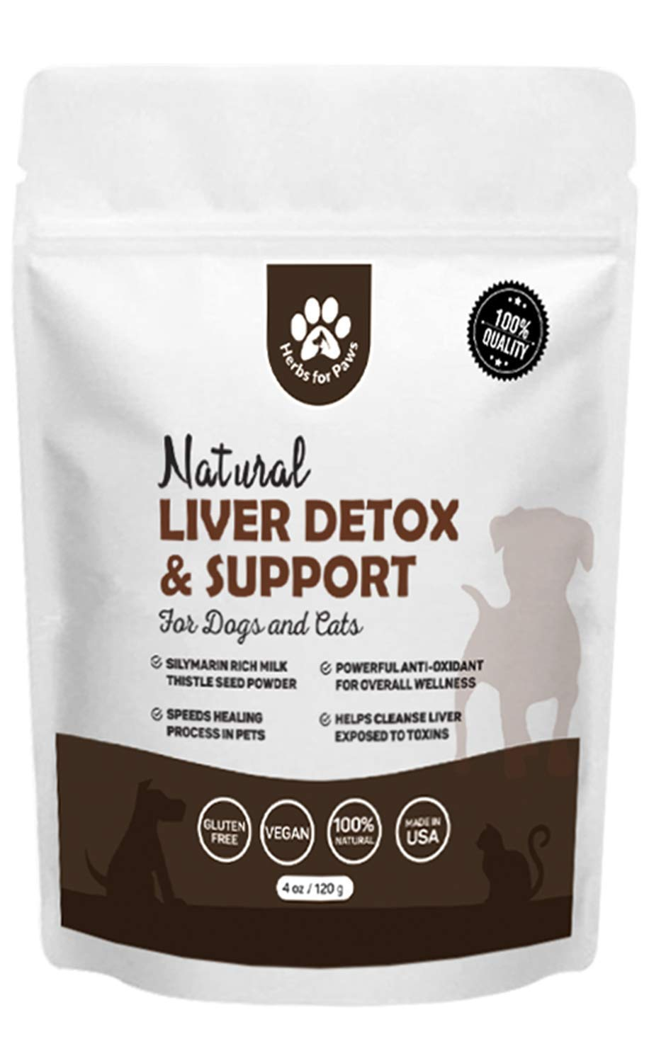 Liver Support for Dogs, Milk Thistle for Dogs and Cats, Supplement Without Capsules, Pills - 4oz Bag by Herbs for Paws