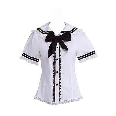 an*tai*na* Chemisier Lolita pour Femme Blanc Coton Dentelle Marin Collier Arc Doux Mignon