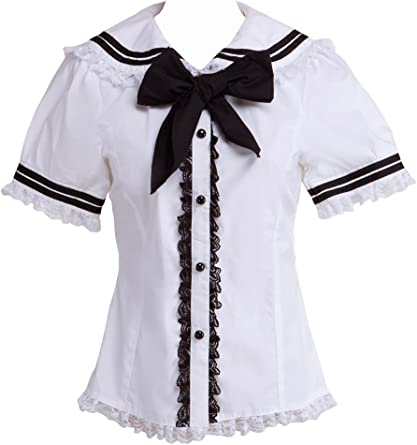 Blanca Algodón Encaje Sailor Collar Bow Kawaii Cute Lolita Camisa Blusa de Mujer