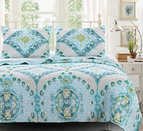 Finely Stitched Quilt Set with Sham Brushed Microfiber Beach Cottage Coastal Mandala Geometric Design Aqua Blue Green Bedding Luxury Reversible Bedspread Single Twin Size - Includes Bed Sheet Straps (Quilted Fabric Face Single Cotton)