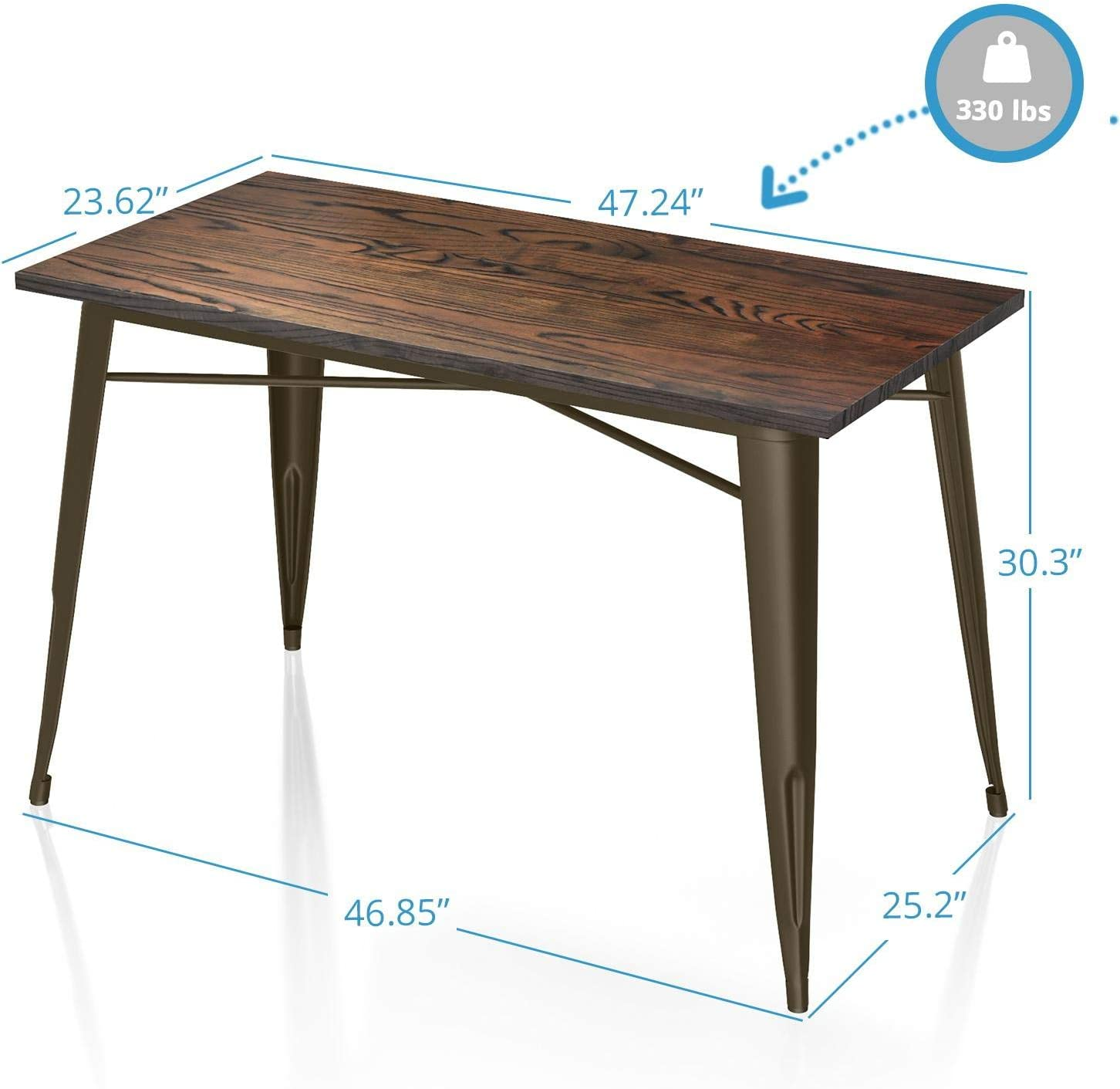 VIPEK 30 Inches Height Metal Dining Table Heavy-Duty Rectangle with Solid Elm Wooden Table Top for Bistro Pub Table Farmhouse Home Kitchen Dining Table Rustic Industrial Style Gloss Black