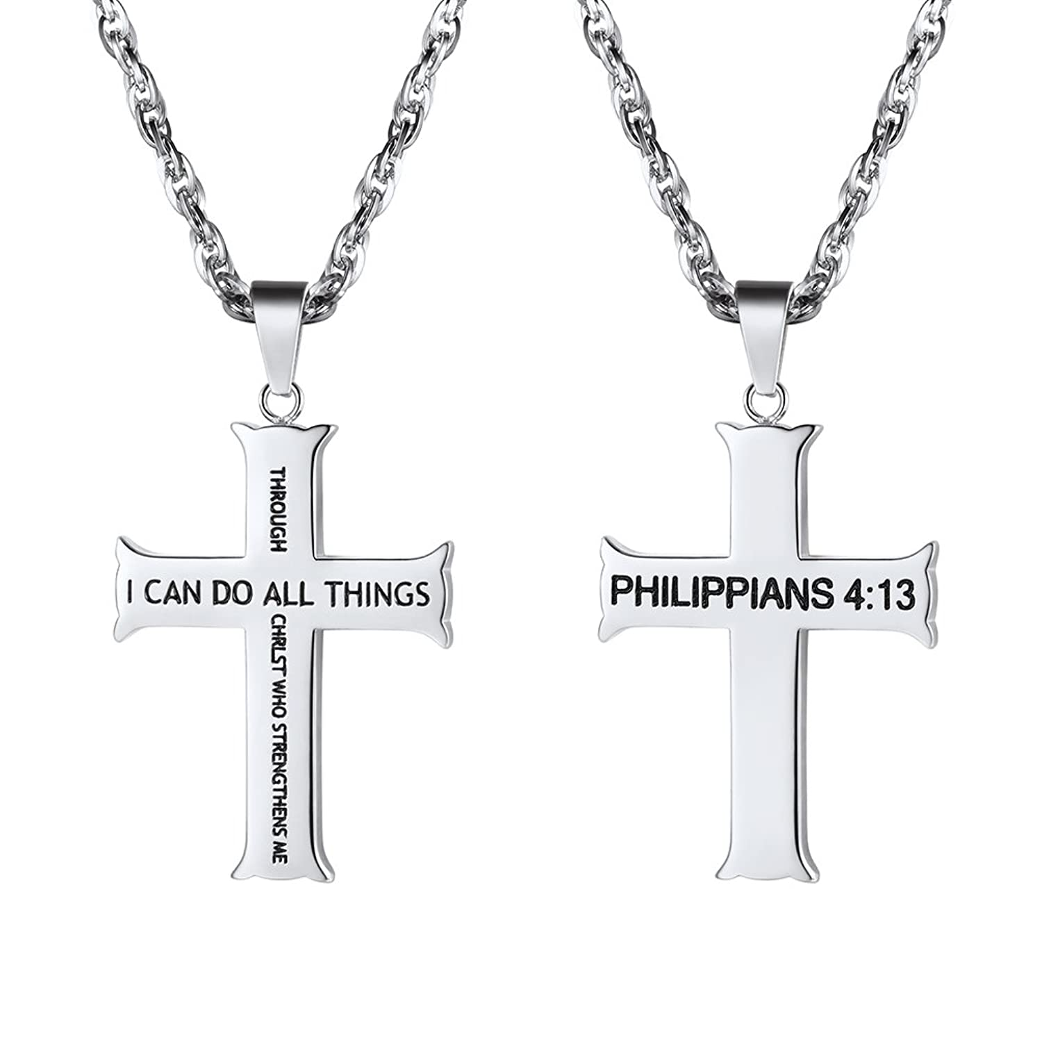 Cross Pendant Necklace,I Can Do All Things,Philippians 4:13,Mens Womens Jewelry Gift