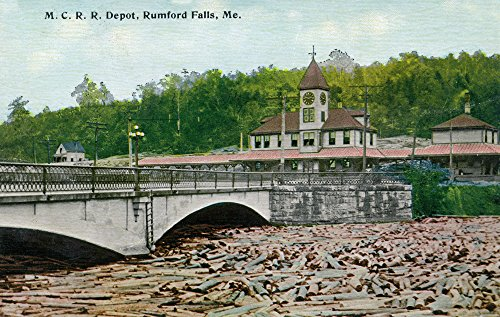 Rumford Falls, Maine - Maine Central Railroad Station (16x24 SIGNED Print Master Giclee Print w/Certificate of Authenticity - Wall Decor Travel Poster)