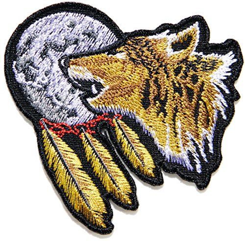 [Indian Feather Full Moon Lone Wolf Fox Dog Wild Animal Choppers Lady Rider Biker Tatoo Jacket T-shirt Patch Sew Iron on Embroidered Sign Badge] (Indian Costume No Sew)