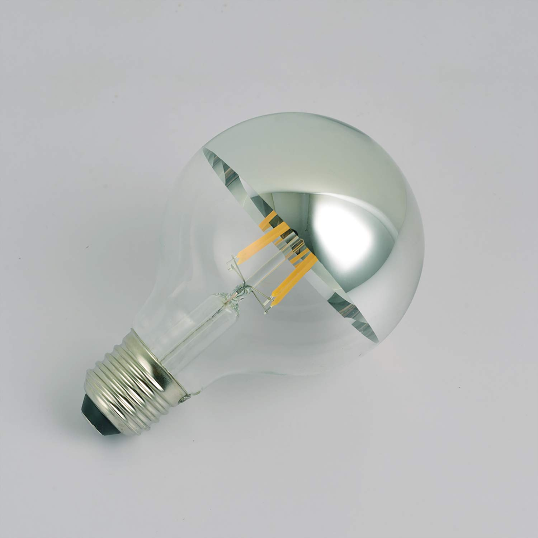 G80 LED電球 4W LEDフィラメント電球 ハーフクローム電球 1パック B07FBX91Z6