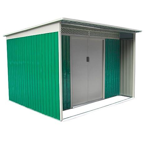 Box - Casita para exterior, jardín, metál zincado, 213 x 260 x 189