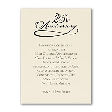 Amazon Com 325pk 25 Years Celebration Invitation Ecru