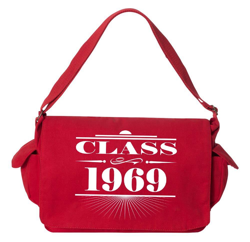 Tenacitee Art Deco Class of 1969 Khaki Green Raw Edge Canvas Messenger Bag