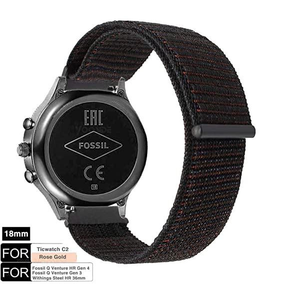 YOOSIDE Watch Band for Fossil Q Venture,18mm Quick Release Soft Breathable Nylon Loop Sport Watch Band Strap for Fossil Q Gen 3 Venture,Gen4 ...
