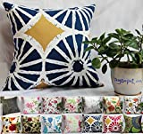 Decorative Pillow Cover - TangDepot174; 100% Cotton Floral/Flower Printcloth Decorative Throw Pillow Covers /Handmade Pillow Shams - Many Colors, Sizes Avaliable - (18