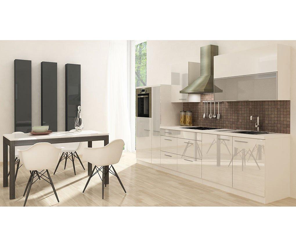 respekta Küchenleerblock Hochbau 310 cm Weiß Hochglanz
