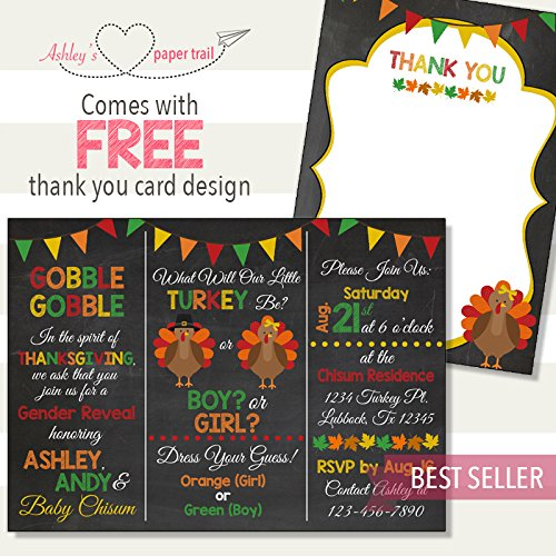 Amazon Com Thanksgiving Turkey Gender Reveal Invitation Digital File Or Prints Handmade