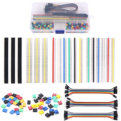 Glarks 248Pcs 40 Pin Breakaway Pin Headers and 2.54mm Circuit Board Jumper Caps with Breadboard Dupont Jumper Wire Ribbon Cables Connectors Assortment Set for Electronic Technology Arduino DIY