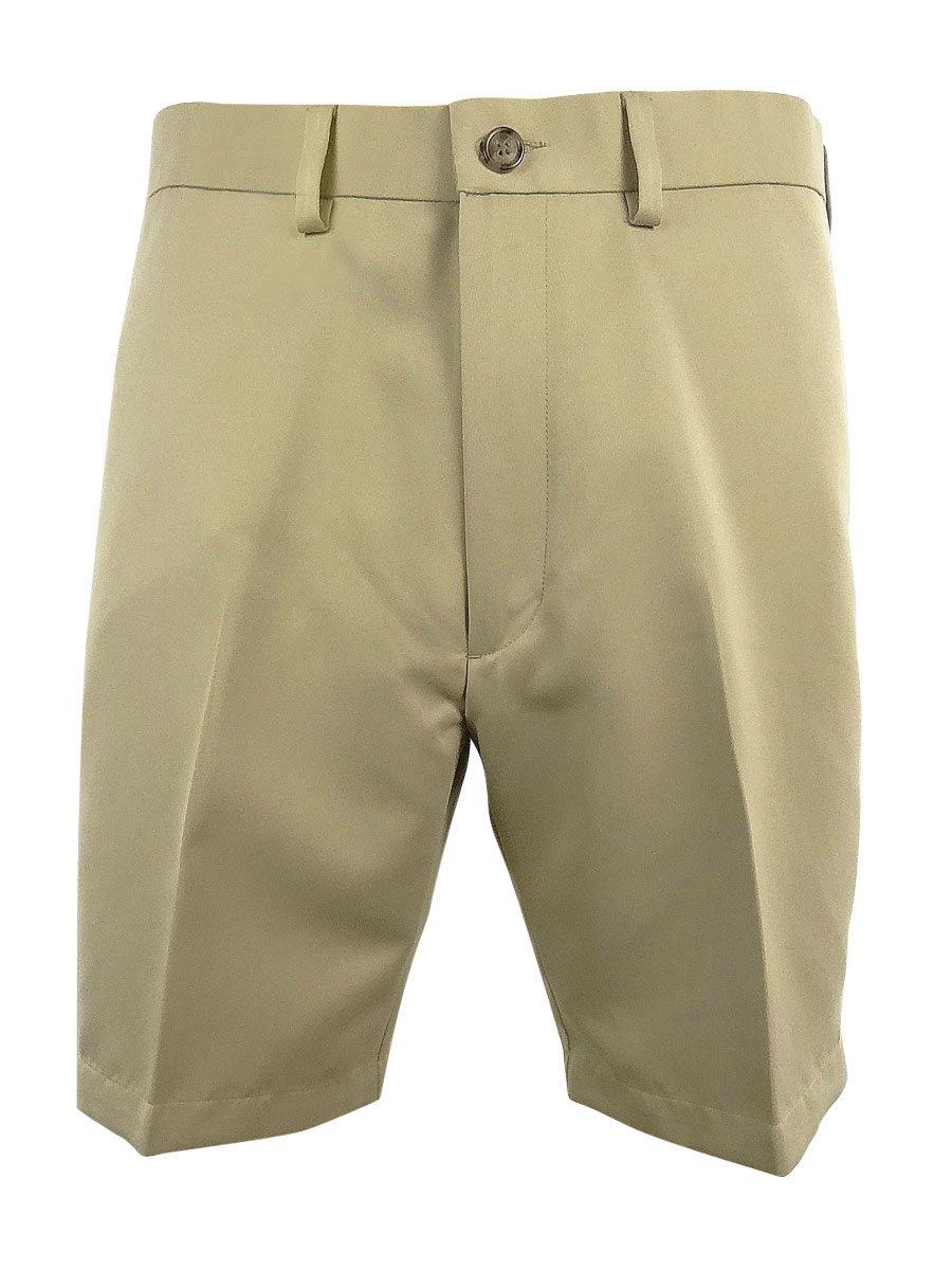 Roundtree & Yorke Big&Tall Men's Pleated Expander Waistband 9'' Shorts (52B, Khaki)