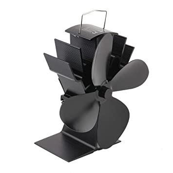 Qewmsg Durable 4 aspas de Aluminio Negro Estufa de Calor del Ventilador accionado Ahorro de Combustible