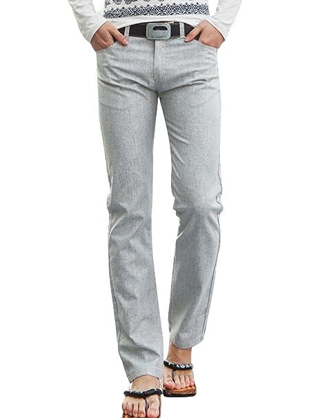 Pantaloni Cintura ZipDoppie Tasche Lino Per Frontali Asola Con In mwnv0ON8