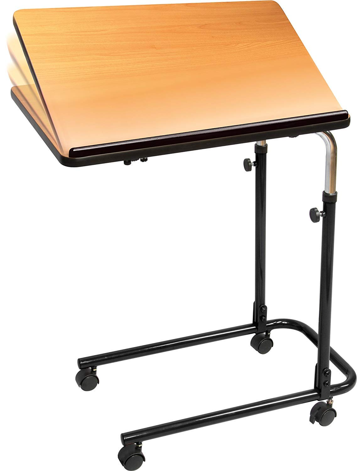 Carex Home Overbed Table With Tilting Top - Hospital Bed Table For Home Use - Bed Tray Table For Eating and Laptops