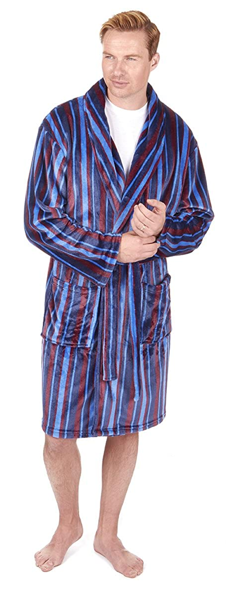 PIERRE ROCHE Mens Striped Flannel Fleece Dressing Gown