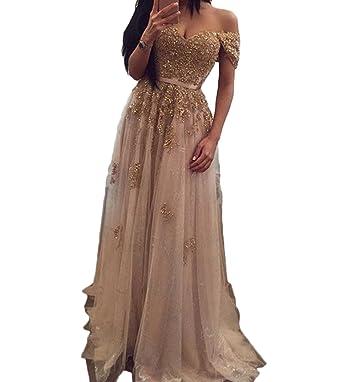 6ce042b7f8 Ri Yun Women s Off The Shoulder Prom Dresses Long 2019 Beaded Lace Formal  Evening Dresses Wedding
