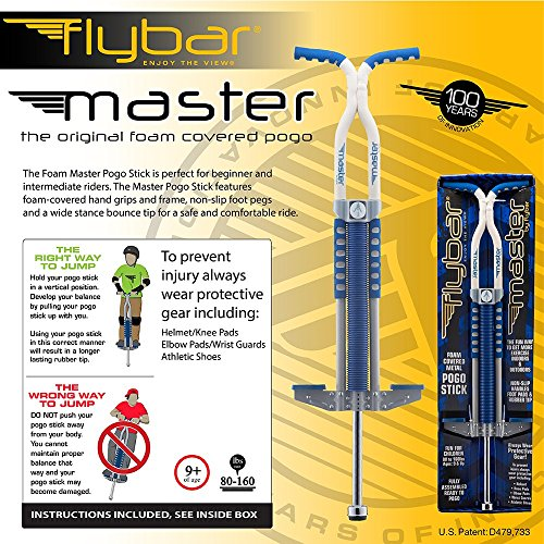 61KABjrzT7L - Flybar Foam Master Pogo Stick For Kids Boys & Girls Ages 9 & Up, 80 to 160 Lbs - Fun Quality Pogostick By The Original Pogo Stick Company