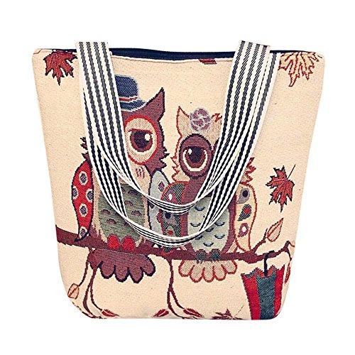 Owl Handbag Bag Printing C Totes Satchels Canvas Cartoon Women Hosamtel Shoulder Bag XxvS7S